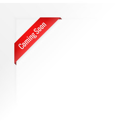 white background of coming soon ribbon vector image