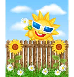 Wooden fence with sunflower and smiling sun vector image