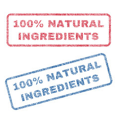 100 percent natural ingredients textile stamps vector