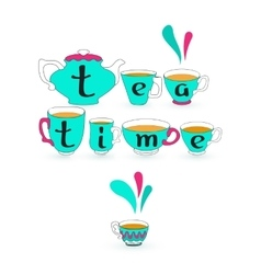 Blue teacup pot and black lwords Tea time on cup vector image