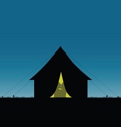 Camping in nature couple love silhouette vector