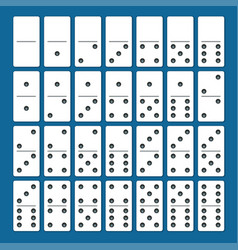 Full set of white dominoes with shadows on a blue vector