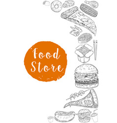 Food store banner template hand drawn food vector