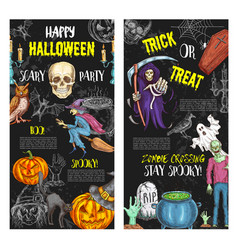 Halloween trick or treat party posters vector