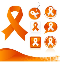Orange awareness ribbons kit vector