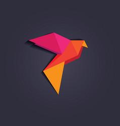 3d origami low polygon bird vector