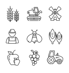 Farm line icons set vector