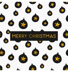 Black white gold foil baubles merry christmas card vector