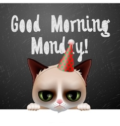 Good morning monday with cute grumpy cat vector