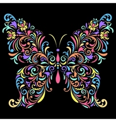 floral butterfly on black background vector image