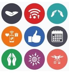 Hand icons like thumb up and insurance symbols vector