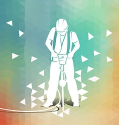 Worker with a jackhammer on polygonal background vector