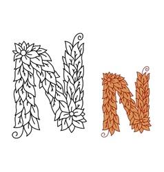 Alphabet letter N in organic leaves font vector image