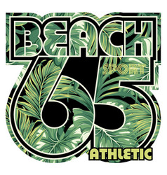Beach with tropical leaves background vector