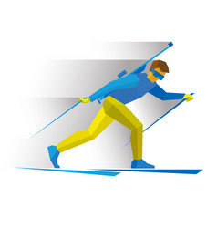 biathlon biathlete going skiing with rifle vector image