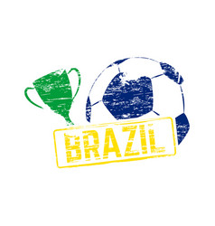 brazil soccer stamp vector image