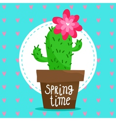 Card background with blooming cactus vector