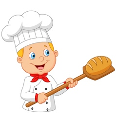 Cartoon baker holding bakery peel tool with bread vector