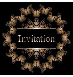 Circle invitation card with golden butterfly vector