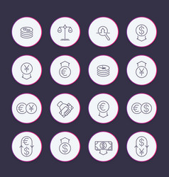 Currency line icons set vector