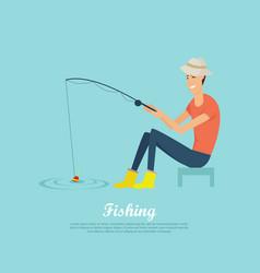 fishing conceptual flat design banner vector image vector image