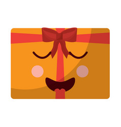 Gift box emoji kawaii icon image vector