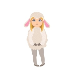 Girl wearing sheep animal costume vector