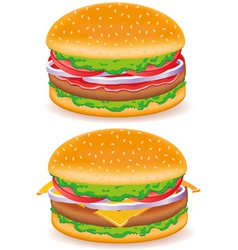 hamburger and cheeseburger isolated on white backg vector image vector image