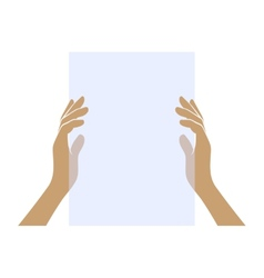 Hands holding blank paper on white background vector