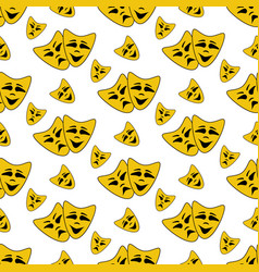 Happy and evil mask pattern vector