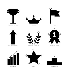 Icons of success and victory black silhouettes vector image