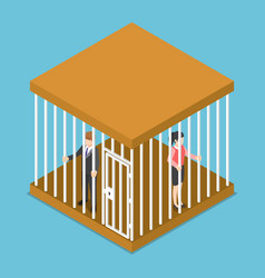 Isometric businessman and businesswoman trapped vector
