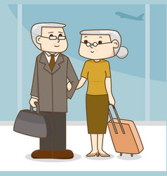 Old couple with a suitcase in the airport cartoon vector