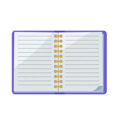 Open spiral copybook icon vector