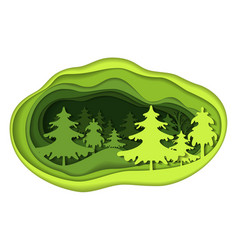 Paper art carving of forest landscape vector