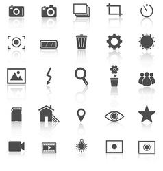 Photography icons with reflect on white background vector
