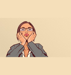 portrait of attractive business woman holding head vector image