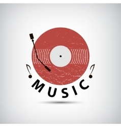 Retro vinyl music logo icon vector