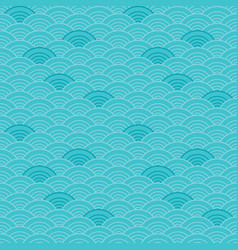 Scallop seamless pattern waves blue teal vector