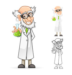 Scientist holding a beaker feeling great vector