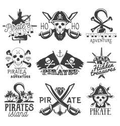 set of pirates logos emblems badges vector image