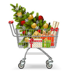 Supermarket cart with christmas tree vector