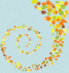 Swirl of maple leaves in the rain vector