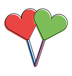 two hearts shape lollipop with stick sweet vector image