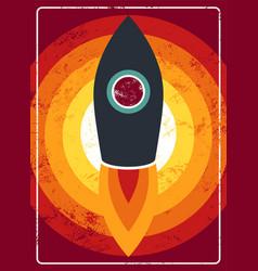 Typographic vintage rocket on space poster design vector