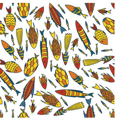 white pattern with fishes in a chaotic manner vector image vector image