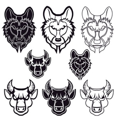 Wolf and bull vector
