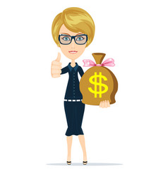 Woman with a huge bag full of money vector