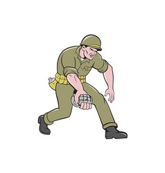 World War Two Soldier American Grenade Cartoon vector image vector image