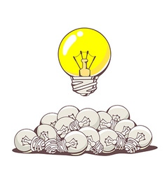 yellow big lightbulb above pile of small vector image